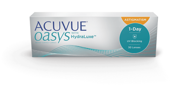box image of ACUVUE OASYS® 1-Day Brand Contact Lenses with HydraLuxe™ Technology for Astigmatism